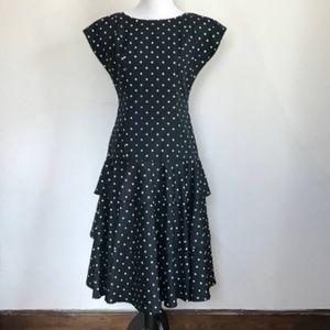 Vintage 1980s Black White Polka Dot Tiered Dress